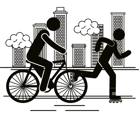 group of people in the city vector illustration design Illustration