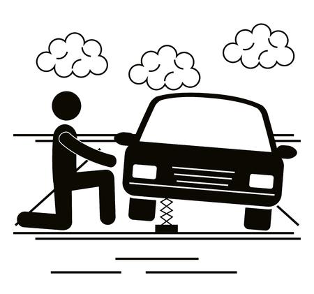 mechanic figure human with car vector illustration design