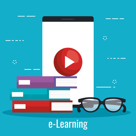 electronic education with smartphone vector illustration design