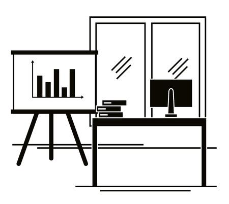 office workplace scene icons vector illustration design  イラスト・ベクター素材