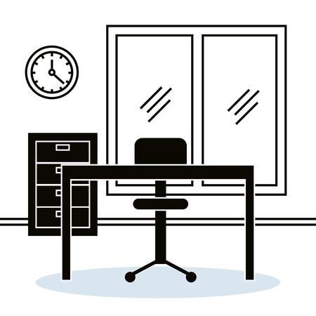 office workplace scene icons vector illustration design Archivio Fotografico - 101318181