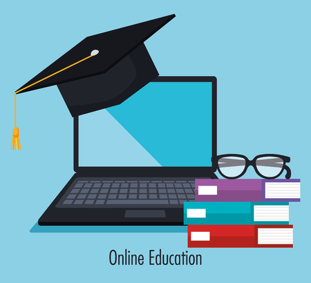 electronic education with laptop vector illustration design 일러스트