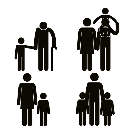 group of family members avatars silhouettes vector illustration design