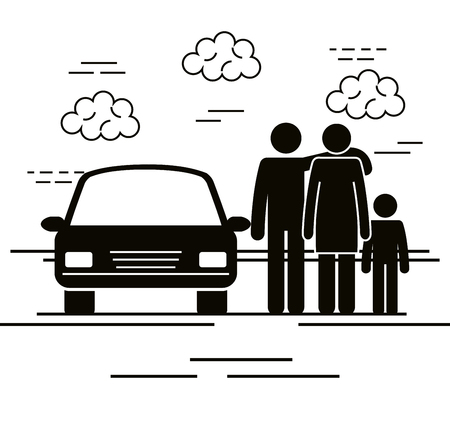 father and mother with son silhouettes vector illustration design