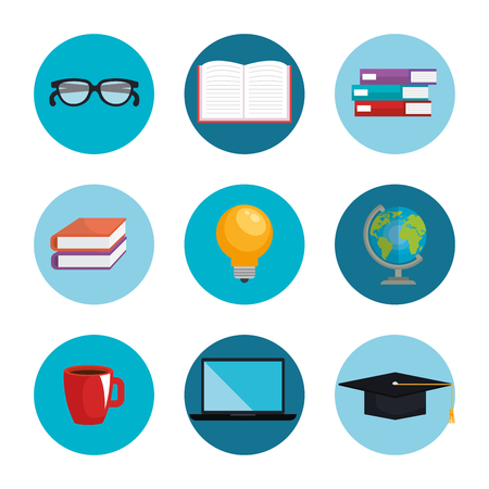 electronic learning technology icons vector illustration design 일러스트