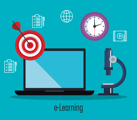electronic education with laptop vector illustration design Illustration