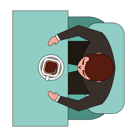 business man sitting on sofa drinking coffee top view vector illustration