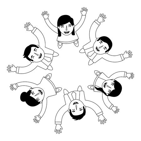 group of people business around circle from looking up success vector illustration Stockfoto - 101383467