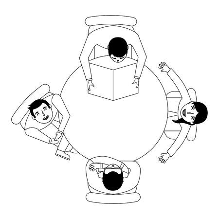 people break time leisure reading around the table vector illustration Çizim
