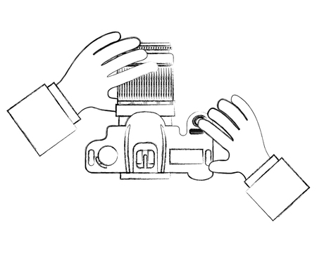 top view hands holding photographic camera vector illustration Stock Vector - 101382318