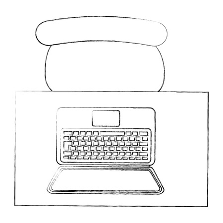 workspace desk chair and laptop view from above vector illustration