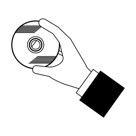 hand holding compact disk storage data vector illustration