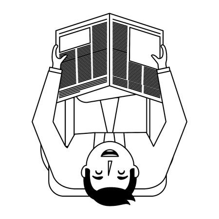 businessman reading newspaper in hands vector illustration Illustration