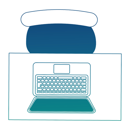 aerial view of desk with laptop computer and chair office vector illustration design