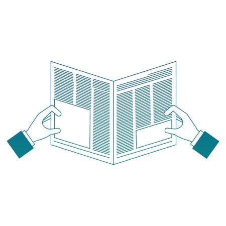 hands reader with newspaper daily vector illustration design Illustration