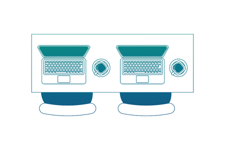 aerial view of desk with laptops computer and chairs office vector illustration design