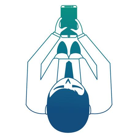 aerial view of elegant businessman with smartphone device vector illustration design Ilustração