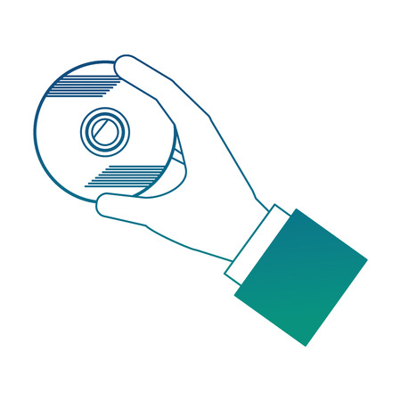 hand with compact disk vector illustration design