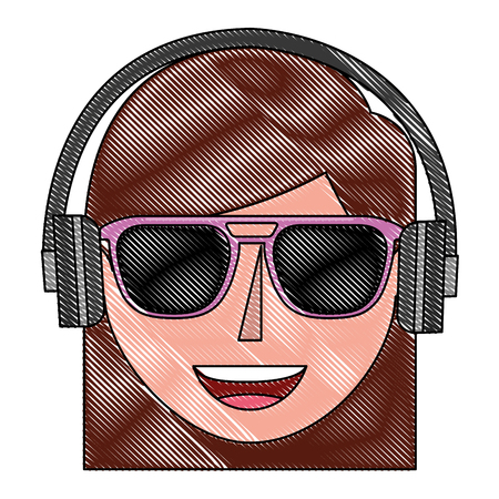 young woman head with sunglasses and headphone vector illustration design Illustration