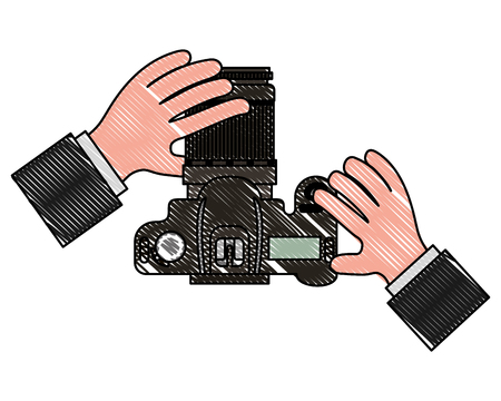 top view hands holding photographic camera vector illustration