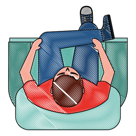 man is sitting on sofa view from above vector illustration