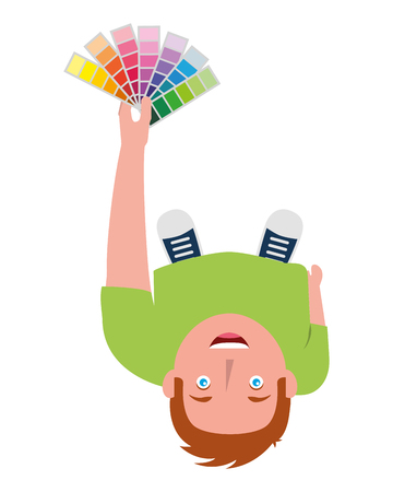 young designer man standing holding palette color top view vector illustration Archivio Fotografico - 101383420