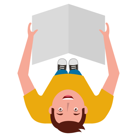 man reading newspaper in hands top view vector illustration