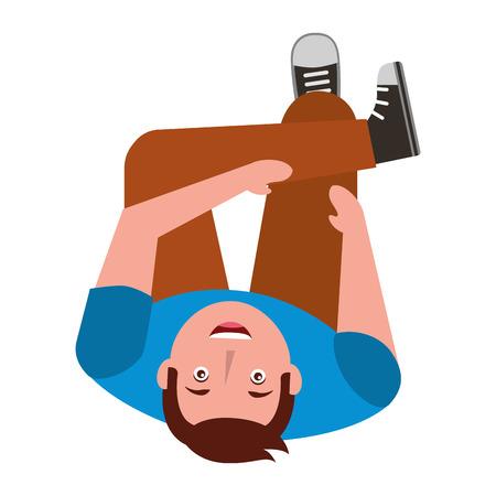 man look up sitting crossed legs top view vector illustration
