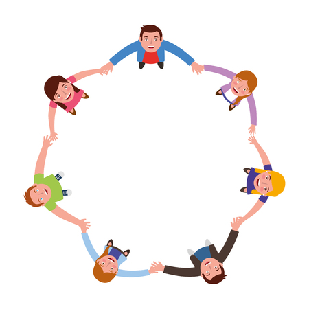 group of people around circle from looking up vector illustration