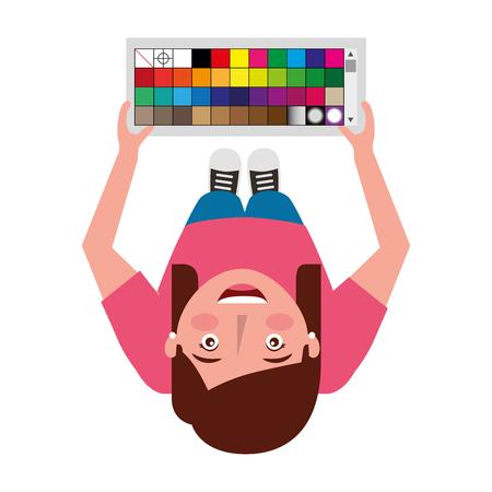 top view designer woman standing holding palette color vector illustration Illustration