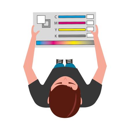 young man designer holding menu palette color top view vector illustration