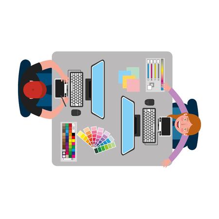 people designer creative workplace workflow items vector illustration Foto de archivo - 101384764
