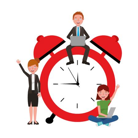 teacher man woman and student girl laptop alarm clock