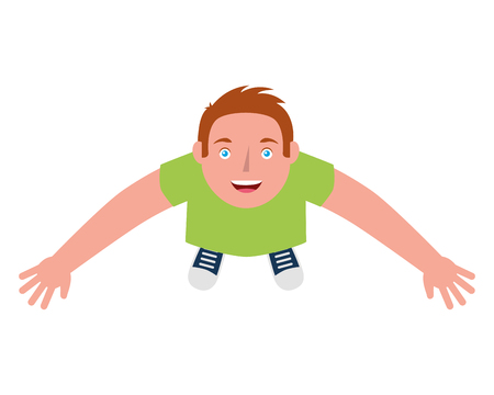 young man standing raised arms celebrating top view vector illustration
