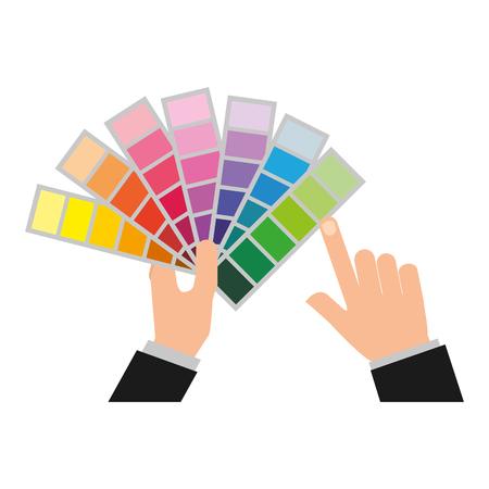 hands holding color palette design vector illustration