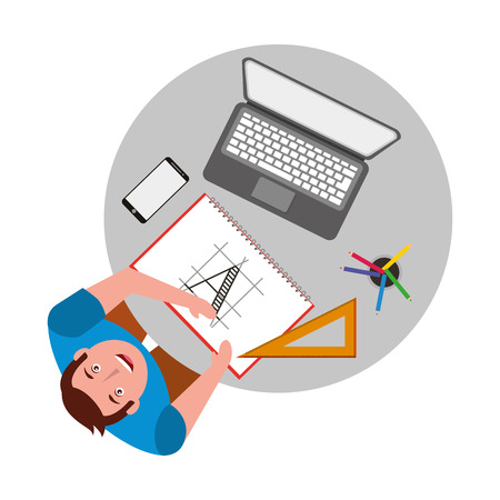 designer working at desk book laptop smartphone and ruler vector illustration