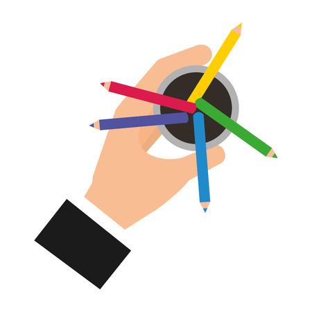 hand holding pencil color in case vector illustration