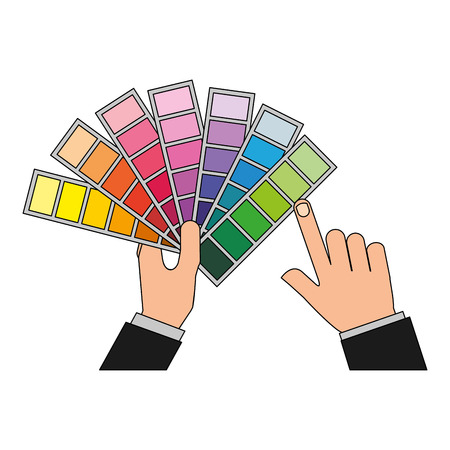 hand with menu color palette graphic design vector illustration
