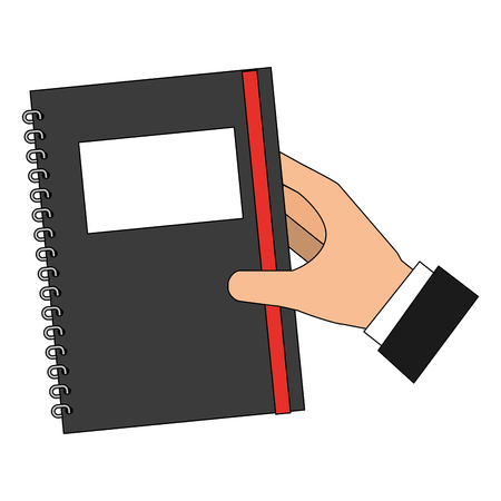 hand with study notebook closed isolated icon vector illustration design