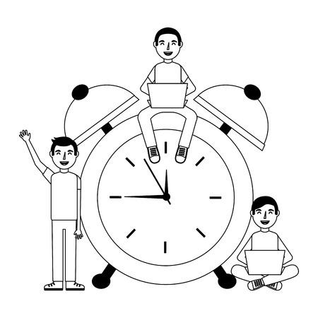 people working on alarm clock vector illustration design Stock Vector - 101384331