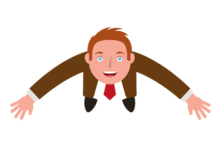 top view businessman standing looking up arms up vector illustration