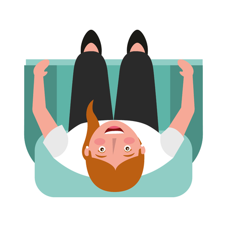 top view woman sitting with crossed legs on sofa vector illustration