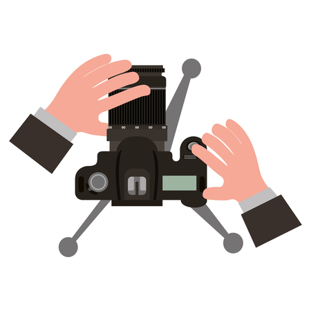 hands holding camera in tripod top view vector illustration