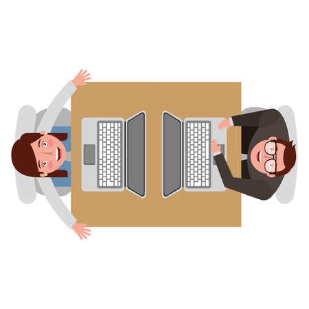 businessman and businesswoman working at computer looking up with top view vector illustration