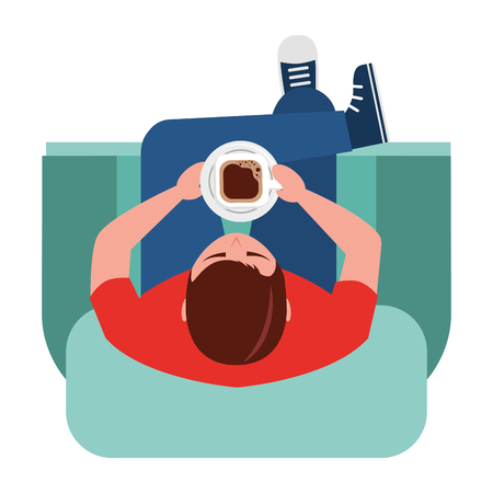 man is sitting drinking coffee on sofa view from above vector illustration