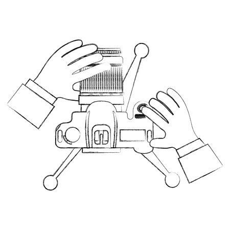 hands holding camera in tripod top view vector illustration sktech