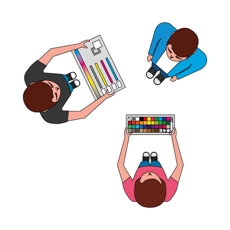 aerial view of teamwork graphic designers with tools panel vector illustration Ilustração