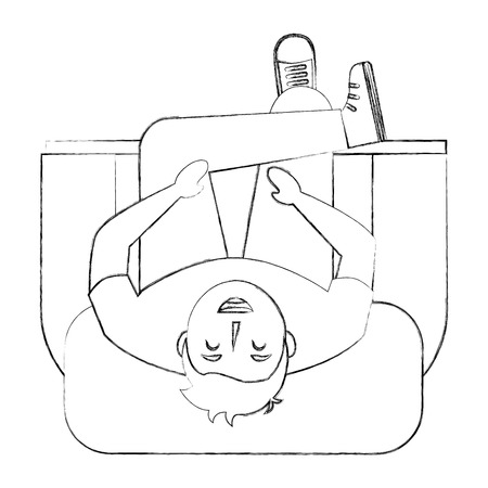 man is sitting on sofa view from above vector illustration sktech Çizim