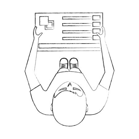 young man designer holding menu palette color top view vector illustration sktech Ilustração