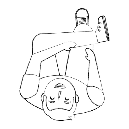 man look up sitting crossed legs top view vector illustration sktech